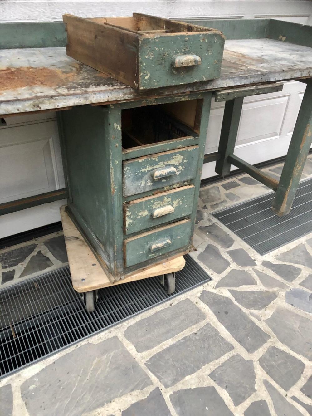 Bancone da lavoro lamiera da restaurare- cod.1390